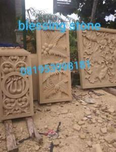 Batu Paras Ukir Relief Motif Daun & Kaligrafi
