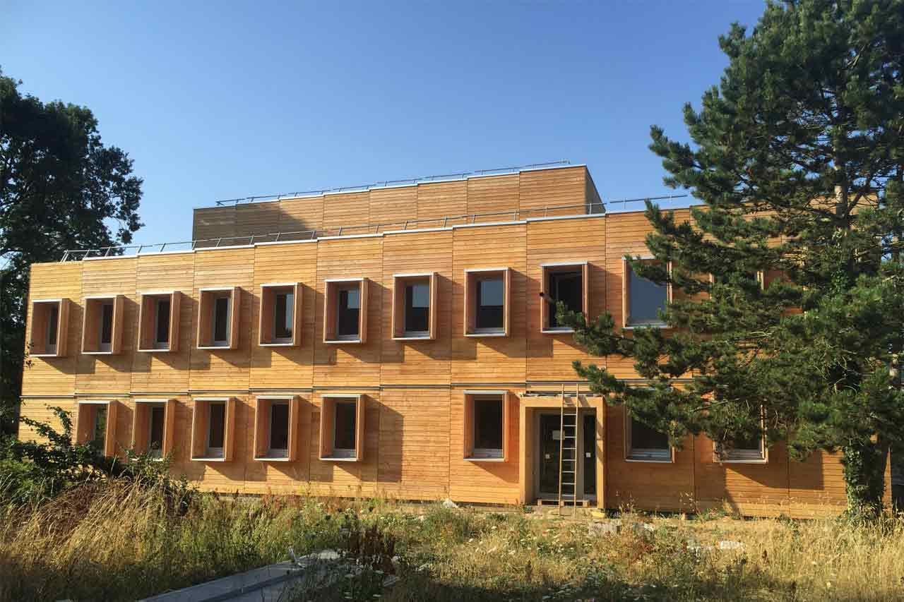 Construction en bois maison ossature bois extension bardage for Bardage maison en bois