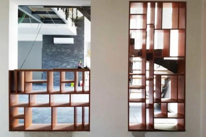 bibliothèque design meuble en bois sur mesure artisan paris 75