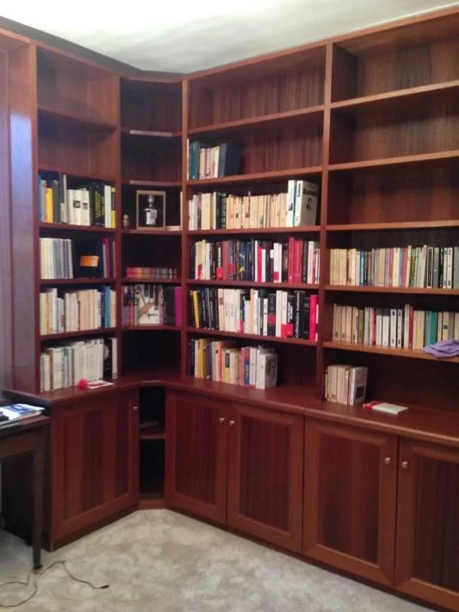 bibliothèque meuble en bois sur mesure artisan paris 75