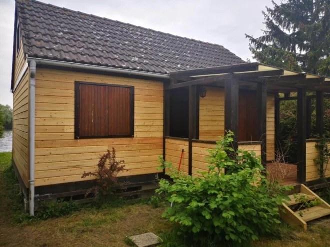 Extension maison bois pergola mélèze charpentier 91
