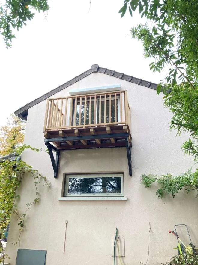 installation balcon bois extension extérieur 78