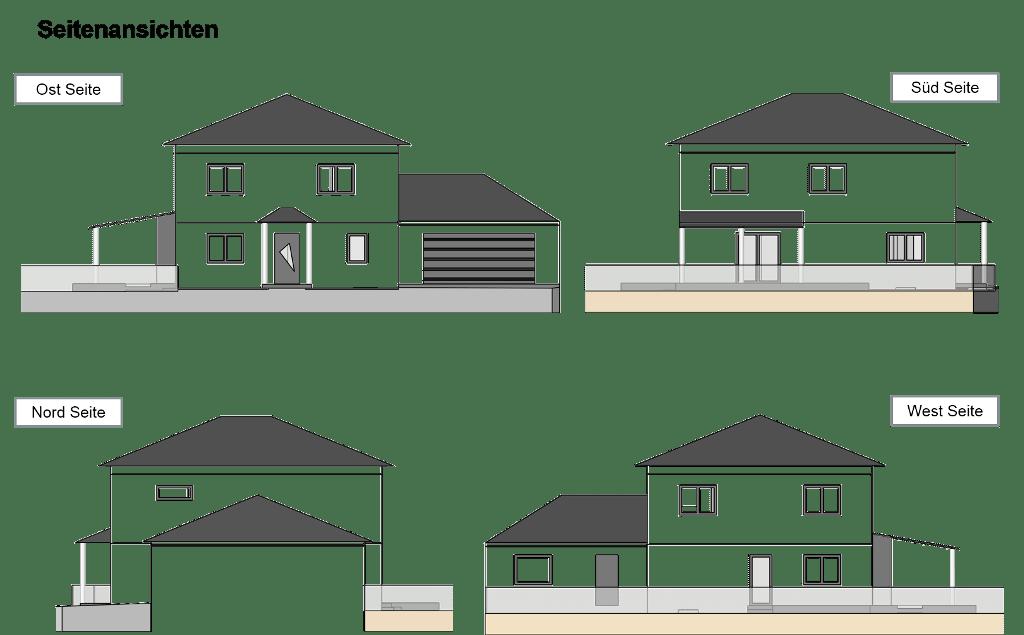 Haus Seitenansichten