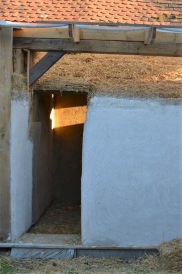 lime plaster on straw bale vault