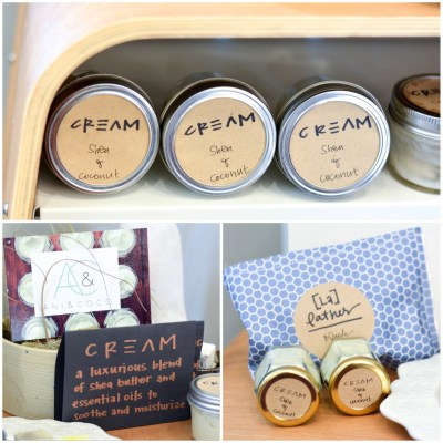 Ani & Coco creams and soaps were on display. These are available for purchase both online and at Garnish.