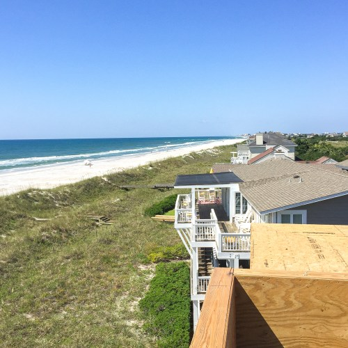 View from the rooftop deck area. You can see Wrightsville Beach all the way at the end.