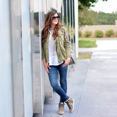 Military-Inspired Jacket with Embellishments