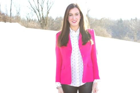 Bright Pink Blazer Polka Dot Blouse