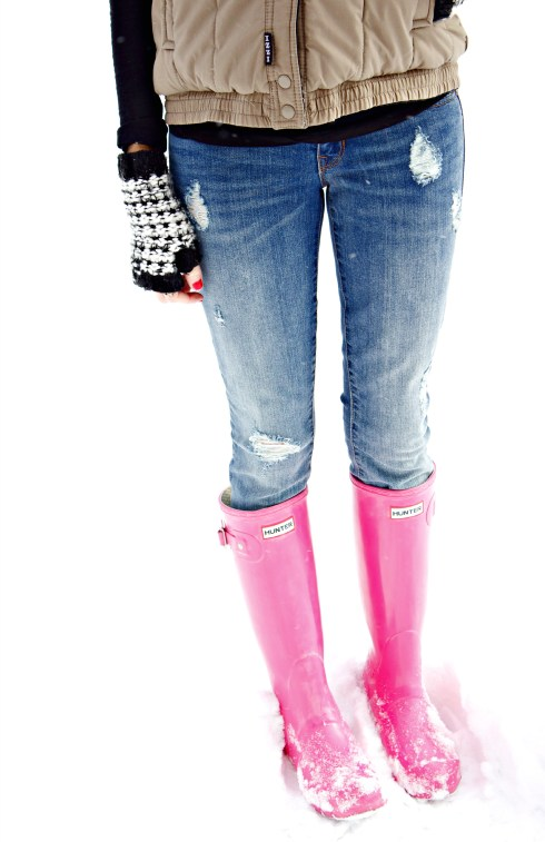 Gap Distressed Jeans Hunter Boots