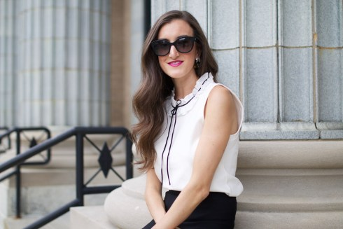 Black and White Ruffle Top with Bow