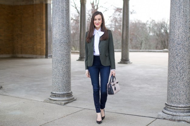 Skinny Jeans with White Blouse