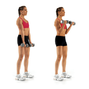 Arm curls. Work your arms in a variety of directions to strengthen and tone arms all around.