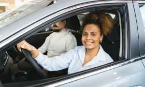 Black woman driving