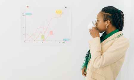 Black woman sipping tea while looking at graph