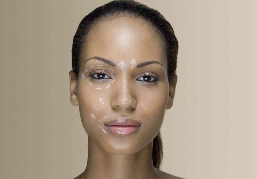 A woman with cosmetic surgery lines on her face