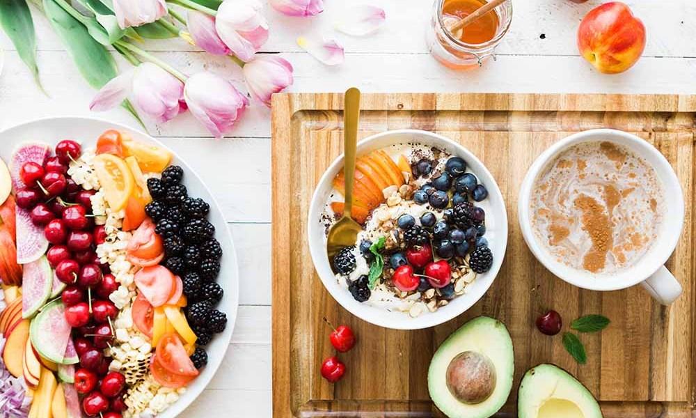 bowls of oatmeal, avocado, breakfast diet