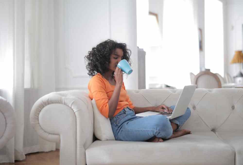 black woman working from home