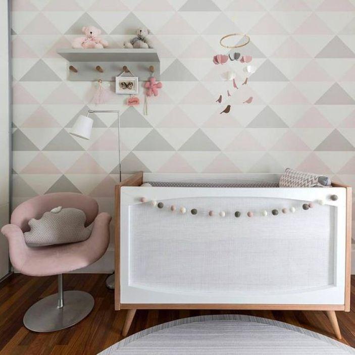 quarto infantil cinza e rosa