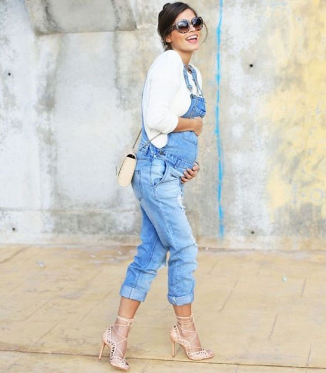 macacão jeans para grávidas