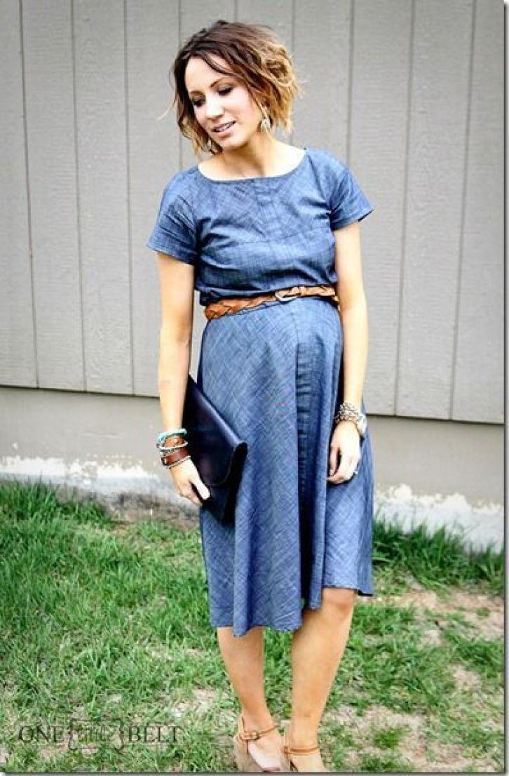 vestido jeans para grávida
