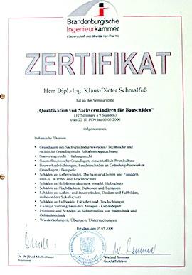 Baugutachten Zertifikat Bild Ausbildung als Bausachverständiger