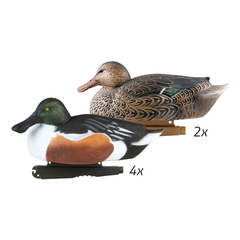 pack de 6 formes ghg hunter series grande taille canard souchet