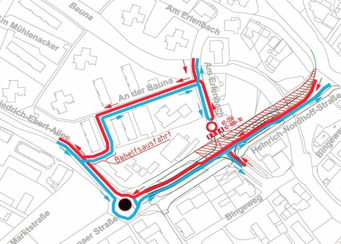 Umleitung in Nordhoff-Straße voraussichtlich vom 6. bis 10.11.2017 in der City Baunatal