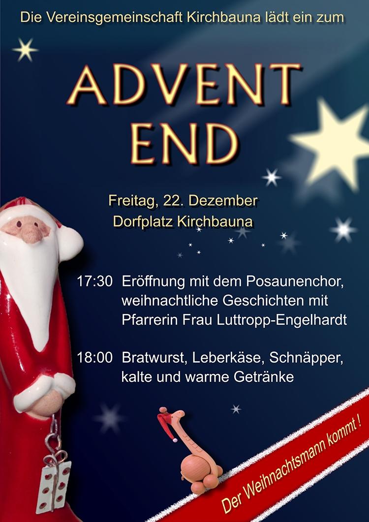 Advent-End am Freitag, 22.12.2017 – den Streß ablegen, auf Weihnachten einstimmen mit der Vereinsgemeinschaft auf dem Dorfplatz Kirchbauna