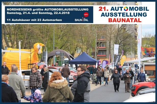 Baunataler Automobilausstellung, BAA, verkaufsoffener Sonntag Baunatal, 21.4.2018, 22.4.2018, Baunatal City
