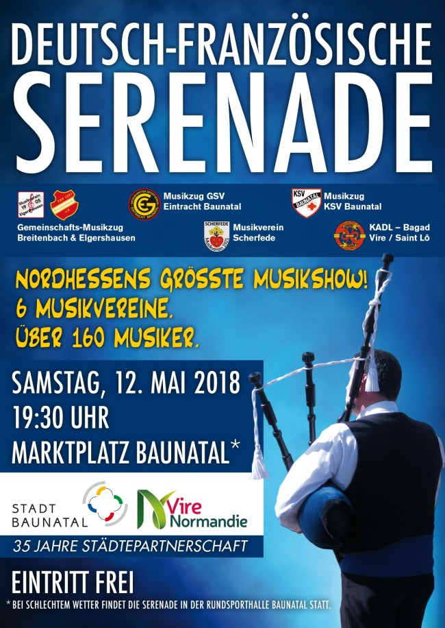 Baunatal, deutsch-französische Serenade, Musikzug GSV Eintracht Baunatal, 12.5.2018, Marktplatz Baunatal