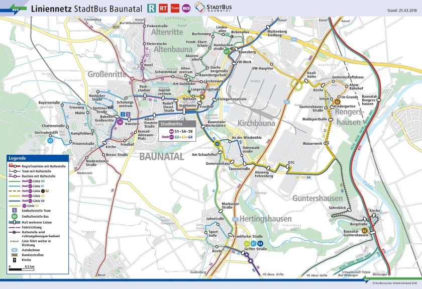 ÖPNV Baunatal, NVV Baunatal, Buslinien Baunatal, Stadtbus Bauantal