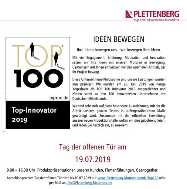 Plettenberg Elektromotoren, Baunatal, Top100 Innovation,