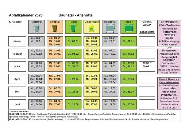 Abfallkalender, Baunatal, 2020, Altenritte