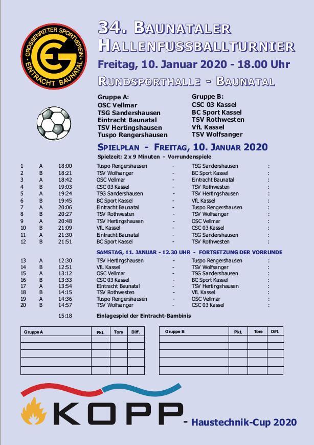 Sportstadt, Baunatal, Nordhessen, GSV Eintracht Baunatal, Fußball, Hallenfussball, Kopp Haustechnik cup 2020