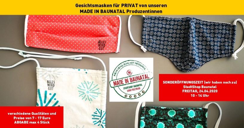 Gesichtsmaske, Made in Baunatal, Stadtmarketing Baunatal, Baunatal, StadtShop