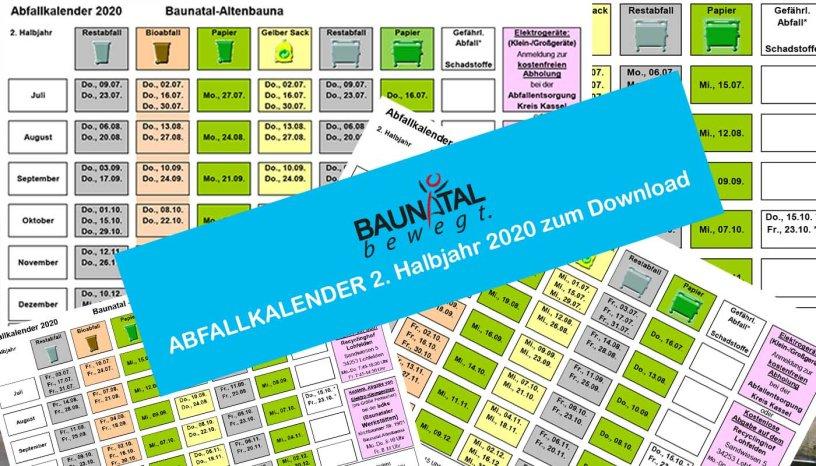 Abfallkalender, Müllkalender, Baunatal, 2020, Altenbauna, Altenritte, Guntershausen, Großenritte, Hertingshausen, Rengershausen, Kirchbauna