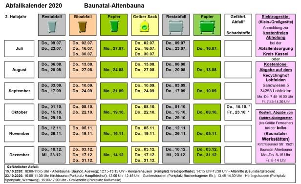 Abfallkalender Baunatal, 2020, 2. Halbjahr, Altenbauna
