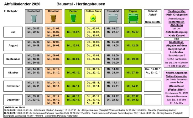 Abfallkalender Baunatal, 2020, 2. Halbjahr, Hertingshausen
