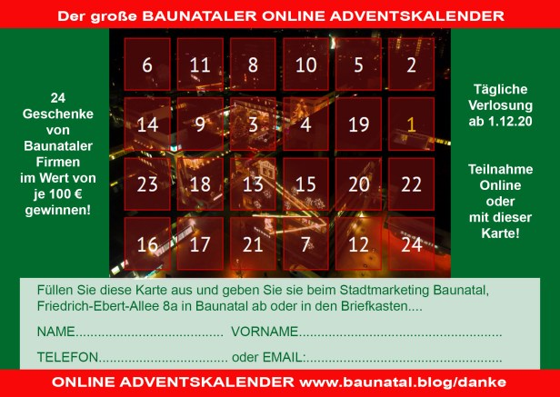 Baunataler Adventskalender, Online Adventskalender, Stadtmarketing Bauantal, Baunatal, Baunagram, Danke Baunatal