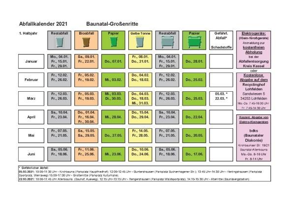 Abfallkalender, 2021, Baunatal, Landkreis Kassel, Müll, Entsorgung, Großenritte