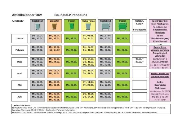 Abfallkalender, 2021, Baunatal, Landkreis Kassel, Müll, Entsorgung, Kirchbauna