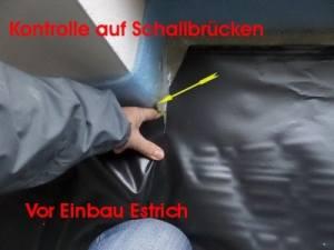 Kontrolle auf Schallbrücken beim Estricheinbau vor der Schlüsselübergabe, Baubegleiter, Baubegleitung