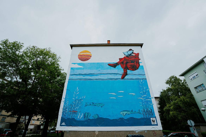 [VIDEO] Pogledajte kako je nastajao mural kojim se u jednom zagrebačkom kvartu oživjelo more