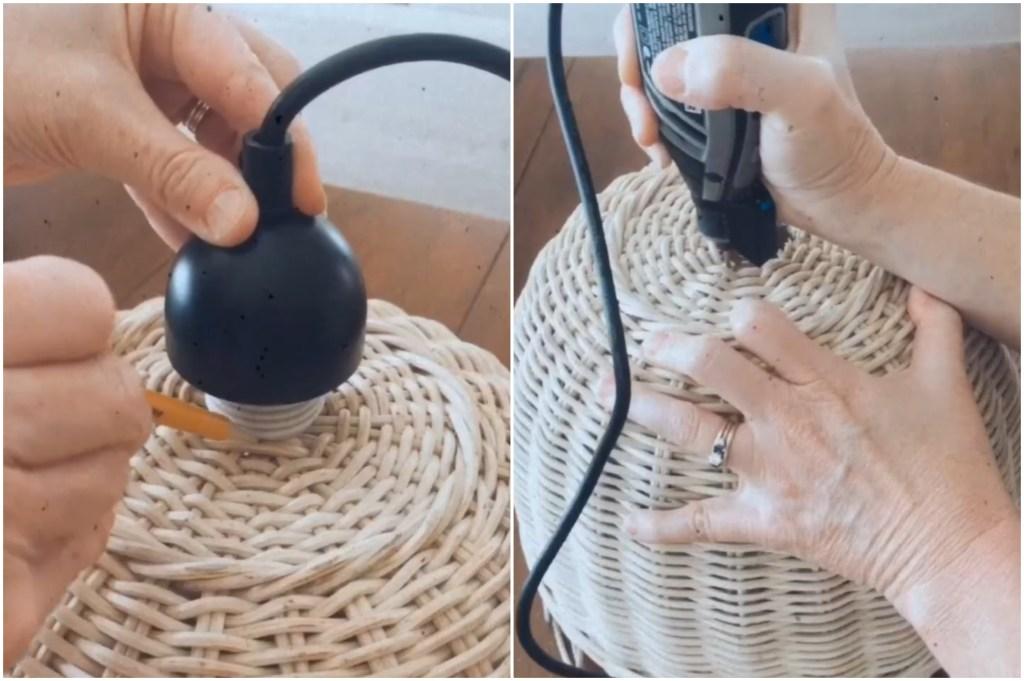 luster od pletene košare