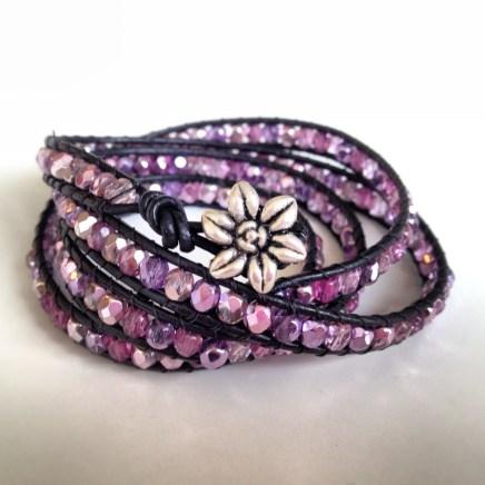 Rosa/lila wraparmband Made by BautaWitch