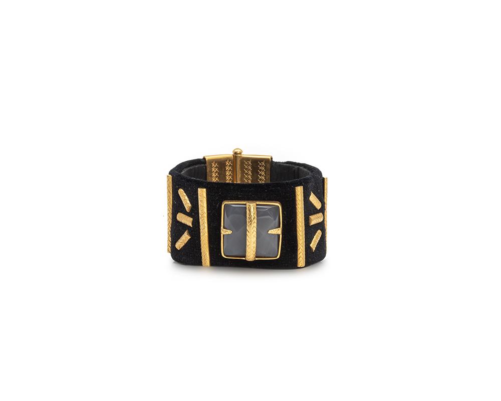 hand made back velvet cuff bracelet