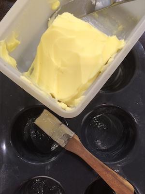 Muffin Tray with Butter, Mawa Cake