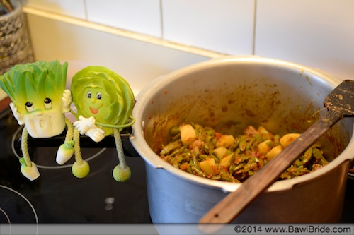 Add in potato to the French Beans