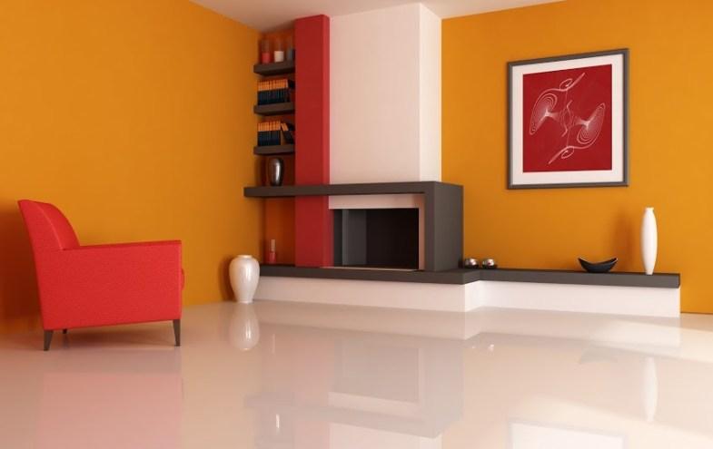 Moderner Wohnraum in rot/orange