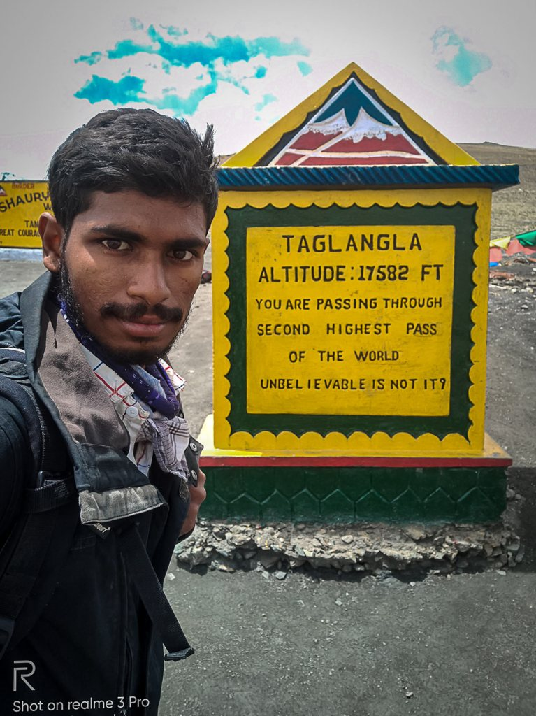 Mohith Gowda at Tanglang La while he is walking from Manali to Kahardung La